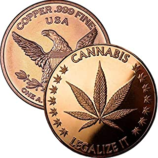 Private Mint 1 oz .999 Pure Copper Round/Challenge Coin (Cannabis - Legalize It)
