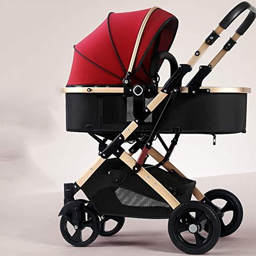 Cochecito De Bebé 2 En 1, Amortiguador Plegable, Portátil, Ligero Y Ajustable, Adecuado Para Cunas Recién Nacidas Con Cunas, Dosel Grandes, Altura Ajustable,C