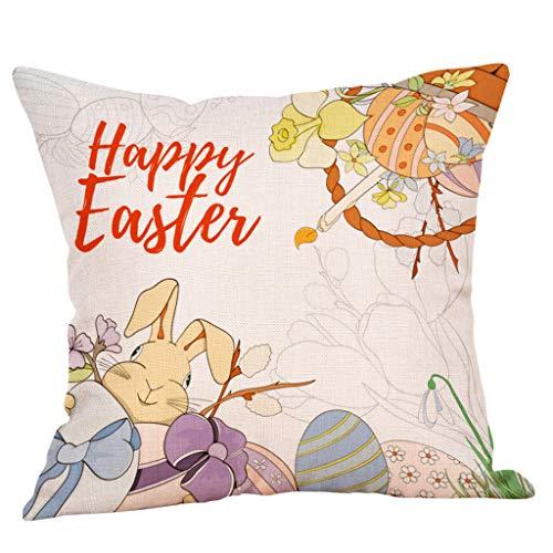NPRADLA Kissen Easter Linen Square Rabbit Throw Pillow Case Taille Kissen Abdeckung Dekoration für Zuhause Cushion Cover 45 x 45 cm 45x45cm C