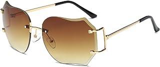 OUTEYE サングラス クリアレンズ レディース リムレス ハート型 サングラス メタルフレーム グラデーションカラー 伊達メガネ 小顔効果 UVカット 男女兼用