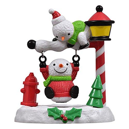 Greenbrier Christmas Solar Powered Swinging Snowmen - 3 x 3.5 Inches