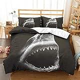 APJJQ Shark Duvet Cover Set Twin Size 3D Printed Black/White Angry Shark Big Mouth Shark Bedding Set for Kids Boys Girls Children 2 Pieces with 1 Pillowcase Black