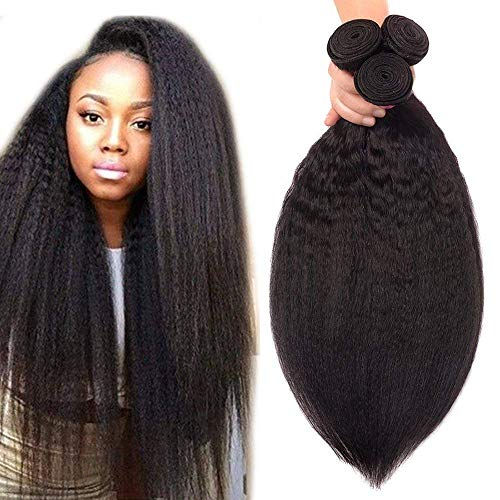 Odir Kinky Straight Human Hair 3 Bundles 14 16 18 Inch Brazilian Yaki Straight Human Hair Weave Bundles Unprocessed 8A Brazilian Human Hair Weave Bundles Natural Color