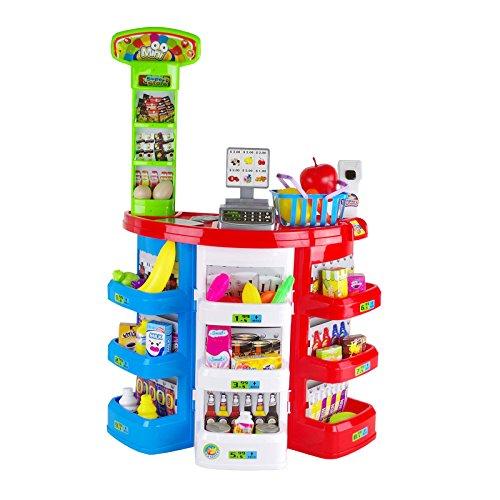 Supermercato Playset Per Bambini Negozio Alimentari Mini Market Gioco D'Imitazione Con 38 Pezzi Frutta Verdura Snack Registratore Di Cassa Misure 51 x 27 x 78H cm Bambini Bambine 3 Anni+ Eddy Toys