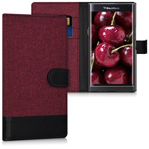 kwmobile Funda Compatible con Blackberry Priv - Carcasa de Tela y Cuero sintético Tarjetero Rojo Oscuro/Negro
