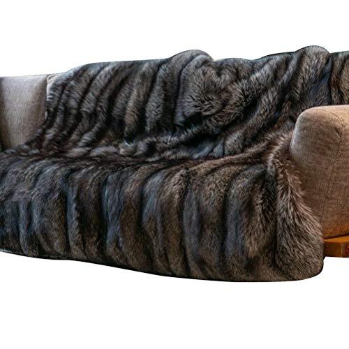 LAOZI - Manta de pelo largo sintético, suave, cálida, elegante, acogedora y mullida para sofá, cama y sillón (blanca, 150...