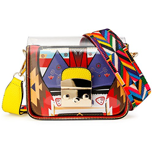 SIMPLE & TRENDY DESIGN: Stylish design. Adjust the colorful shoulder strap to use it as a handbag, shoulder bag or cross-body messenger bag, or remove it use the bag as a handheld purse or clutch. MATERIAL: Made of high quality PU leather and durable...
