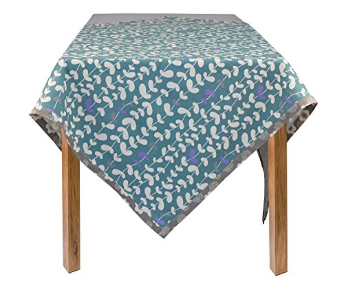 ASD Living Organic Cotton Vines Square Tablecloth, Teal; 60 in. x 60...