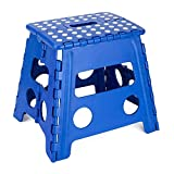 COZYMOOD Folding Step Stool 13' - Super Strong Foldable Plastic Step Stools for Adults, Kitchen Stepping Stool, Office Step Stools - 300lb Max Capacity, Blue…
