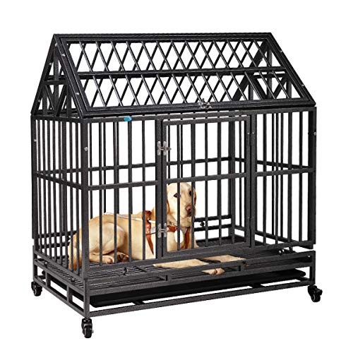 """COZIWOW Heavy-Duty Large Dog Pets Kennel Cage Crate - Pointed Roof and Double Doors 4 Lockable Wheels Safe Metal Tray, Black,40.9"""" H Basic Crates"""