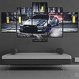 mmwin Toile HD Imprimer Argent Sport Voiture Affiche Mur Art Décor 5 Pièce Véhicule Décor À La...