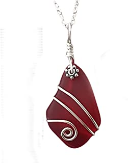 "product image for Handmade in Hawaii, wire wrapped Ruby red sea glass necklace,""July Birthstone"", (Hawaii Gift Wrapped, Customizable Gift Message)"