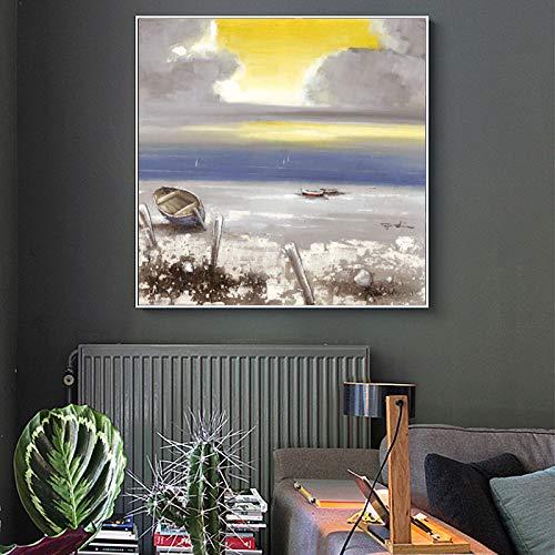 ganlanshu Arte Abstracto Moderno Paisaje Marino Pintura al óleo Lienzo póster Playa Imagen Sala de Estar decoración,Pintura sin Marco,60X60cm