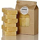 Simplici Lemongrass & Calendula Soap. 6 Bar Bulk Pack. Scented with Lemongrass Pure Essential Oil. Palm Oil Free. 15% Coconut Oil. Long Lasting Lye Soap. 5 oz. EA. Traditional (Non Vegan) Recipe.