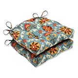 Pillow Perfect Mayan Medallion Reversible Chair Pad, Set of 2,Blue