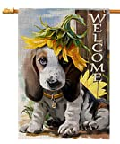 BLKWHT Welcome Dog Lovers Sunflower House Flag Vertical Double Sided 28 x 40 Inch Fall Yard Outdoor Decor