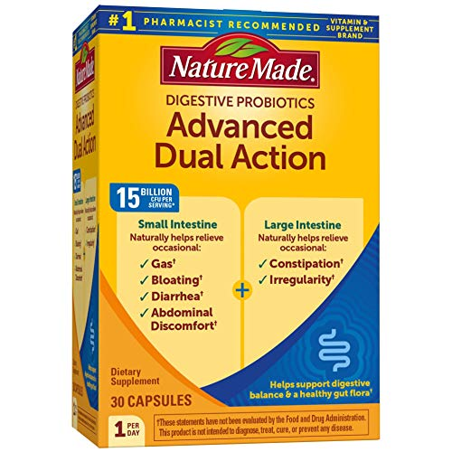 Nature Made Advanced Dual Action Probiotics 15 Billion CFU Per Serving, 30 Capsules, for Gas, Bloating, and Digestive Balance
