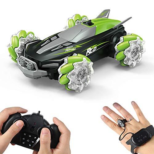 Coche teledirigido,Coche Giratorio de la Deriva del Truco de la Escala 4WD del 1:18 360 ° con la luz del espray 2.4GHz De Alta Velocidad Off Road Electric RC Car Boy niños Buggy Car Toy Gift,Verde