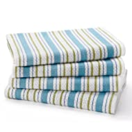 COTTON CRAFT - 4 Pack - Basket Weave Dish Cloths - Periwinkle - 100% Cotton - Oversized 15x15 - Modern Clean Striped Pattern - Convenient Hanging Loop