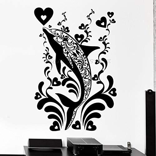 Ventana de vinilo de arte de animales marinos de estilo de tema marino de pared de delfines para niños