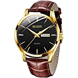 OLEVS Amazon Watch, Men's TOP 1 Watch,Men's Weekender&Calendar Black/Brown Strap,Mens Watches,Classic Casual Watch with Black/Blue/White Dial,Waterproof 30M