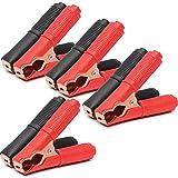 SUNSHINETEK 8 Clips eléctricos de cocodrilo Clips de Cable de Refuerzo de Coche 250 V 100A Pinzas de cocodrilo aisladas de Corriente Grande (4 Negras + 4 Rojas)