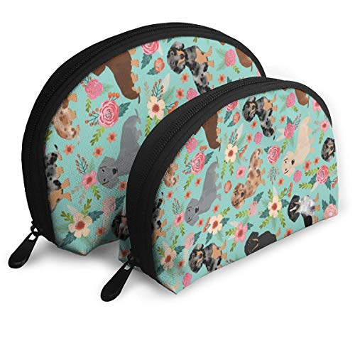 XCNGG Doxie Dachshunds Florals Cute Dog Best Dog Designs Shell Shape Portable Bags Clutch Pouch Coin Purse Cosmetic Bag Unisex Travel Storage Baging Multifunction Child Wallet Key Case Handbag 2 Pcs