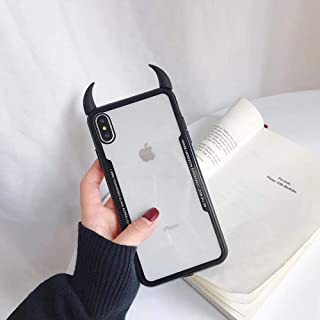 9Guu Luxury Cute 3D Devil Horn Transparent Acrylic Soft Phone Case for iPhone 7 8 Plus X XS MAX XR Ultra-Thin Cover Case (A, for iPhone XR)