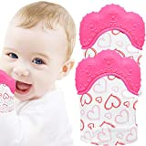 NEPAK Teething Mitten 2 Pcs-Baby Glove Stimulating Teether Toys for Boys & Girls-Teething Glove for 3-6 Months Baby (Pretty Sweet Heart,Pink)