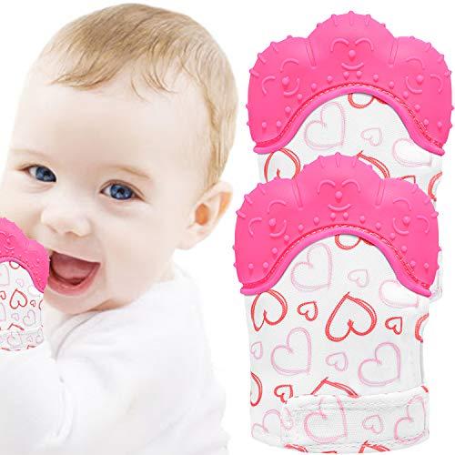 NEPAK 2 Pack Baby Teething Mitten,Baby Beißhandschuhe,Knisternder Handschuh für Babys,Age 3-12 Months(Ziemlich süßes Herz,Pink)