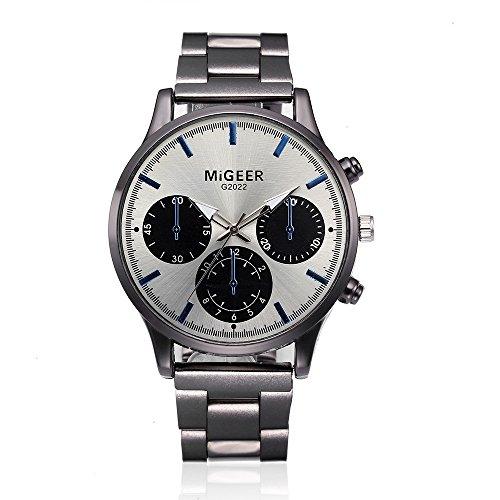 Uhren für Männer Wasserdicht Männer Edelstahl Business Armbanduhr Mann Runde Uhr Crystal Edelstahl Analog Quarz Armbanduhr Armband (E)