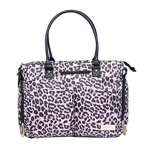 Jessica Simpson 3Pc City Tote Diaper Bag Baby Shoulder Handbag Purse, Leopard