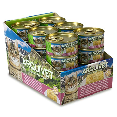 ARQUIVET Pack 24 LATAS Pechuga de Pollo con Arroz en Gelatina con Gambas para Gatos - 80 gr por Unidad - Comida húmeda para Gatos - Alimento húmedo para Gatos - Comida para Gatos
