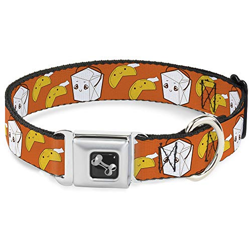 Buckle-Down Seatbelt Buckle Dog Collar - Take Out/Fortune Cookies Orange - 1' Wide - Fits 11-17' Neck - Medium