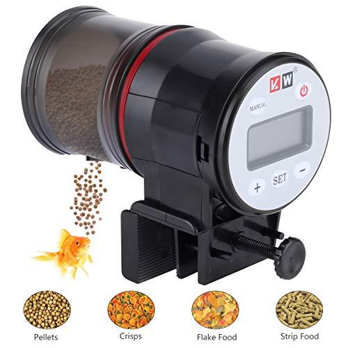 CestMall Automatischer Futterspender für Fischfutter, automatischer Futterspender mit LCD-Display für Aquarien Tank, feuchtigkeitsbeständiger Futterspender für akkurate Fütterung, Urlaub Reisen