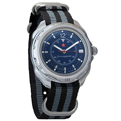 Vostok Komandirskie 211398 - Reloj de pulsera para hombre, esfera azul oscura