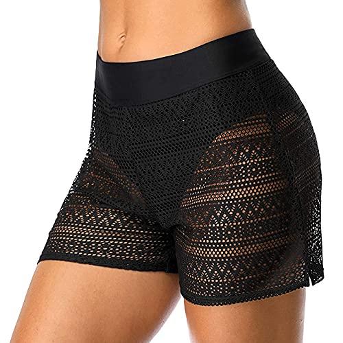 Lazzboy Badeshorts Frauen Hollow Jaquard Badehose Bikini-Badehose Shorts Bottom Badeanzug Badebekleidung Baden Damen Spitze Strandshorts Schwimmshorts Hose Beach (Schwarz-Mesh,M)