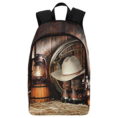 InterestPrint American West Cowboy Boot Custom Casual Backpack School Bag Travel Daypack