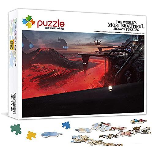 1000 Piezas Puzzle para Adultos NiñOs Base del volcán de Star Wars Educativo Madera 75x50 CM Arte CláSicos Juego De Rompecabezas Adolescentes Infantil Toda La Familiar Regalos Puzle Creativo
