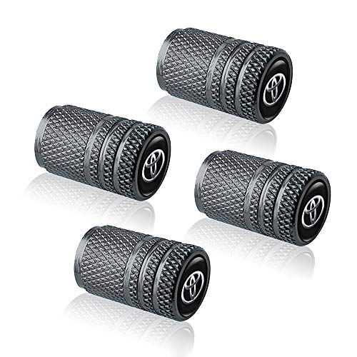 4PCS Metal Universal Tire Valve Stem Caps for Cars,Motorcycles,Bicycles with for Toyota 86 Camry Yaris Corolla 4Runner RAV4 Highlander Land Cruiser Prius Series,Styling Decoration Accessories,Gray