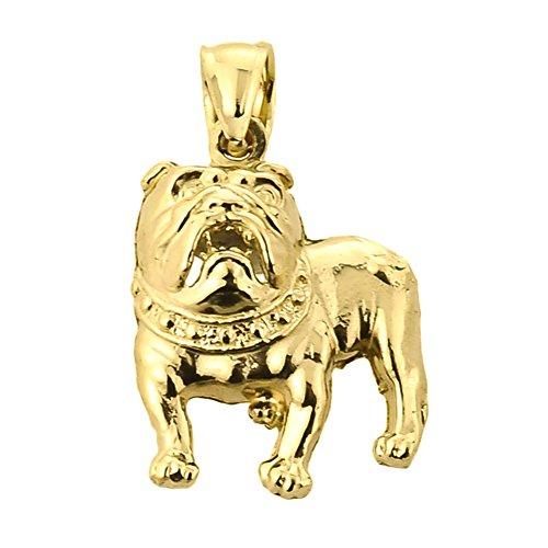 High Polish 10k Yellow Gold Bulldog Charm Pendant
