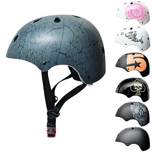 Skullcap BMX Helm - Skaterhelm - Fahrradhelm - Herren Damen Jungs & Kinderhelm, grau-schwarz, Gr. S (53 - 55 cm), Crack