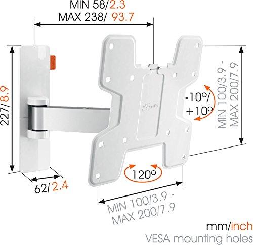Vogel's WALL 2125, Support mural pour TV 19-43 Pouces, Inclinable et Orientable 120º, Max 15 kg et jusqu' à VESA 200x200 mm, blanc