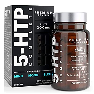 5-HTP 200MG COMPLETE with Serotonin Synthesizers SAMe, L Tryptophan and Cofactors B6 B12 for Improved Serotonin Conversion - 5HTP 100mg per capsule with Magnesium for Mood Support and Sleep 5 HTP plus
