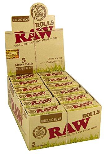 RAW ORGANIC Rolls Slim 5 Meter Länge Ungebleichte Hanfblättchen 3 Boxen (72x Rolls)