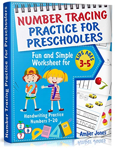 Number Tracing Practice for Preschoolers: Fun and Simple Worksheet for Kids Ages 3-5. Handwriting Practice Numbers 1-20