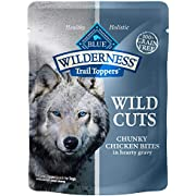 Blue Buffalo Wilderness Trail Toppers Wild Cuts High Protein Grain Free, Natural Wet Dog Food, Chunky Chicken Bites in Hearty Gravy 3-oz pouches (Pack of 24)