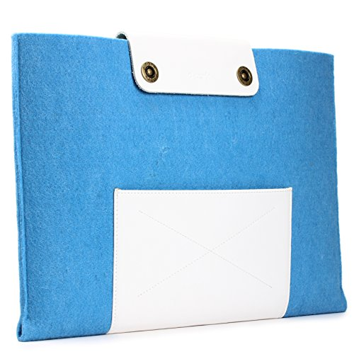 Urcover Handgefertige Designer MacBook Pro 15 Zoll (47 cm) Tasche Sleeve Hülle EXTRA Fach für Maus Ladekabel etc. Notebooktasche Ultrabook-Schutzhülle Laptophülle in Hell Blau Weiß