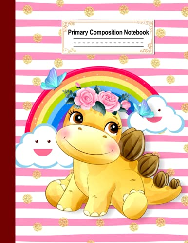 Primary Composition Notebook: half ruled top half blank page with picture space midline dotted lines handwriting practice story