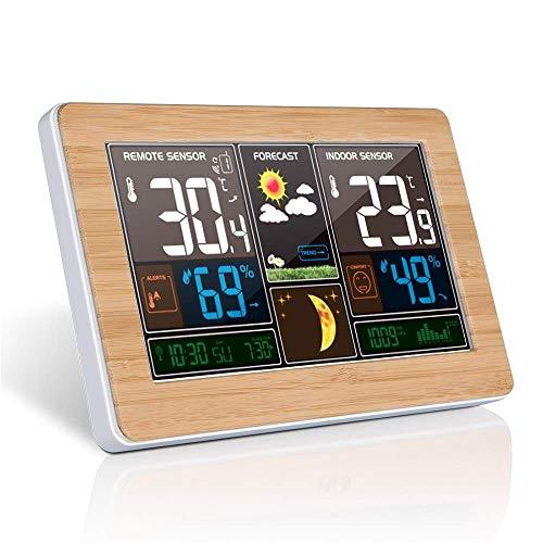 Xfc USB Opladen Klok Digitale Weerstation, Bamboe Hout Graan LED Screen Alarm Klok, Muur Binnen Outdoor Temperatuur Vochtigheid Display